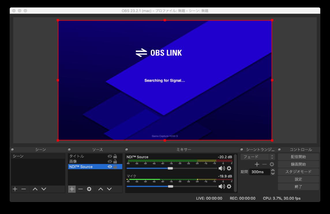 OBS 23 2 1  mac  プロファイル 無題  シーン 無題 2019 10 28 21 14 33